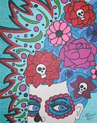 Sugar Skull Drawings Posters - Blue Sugar Skull Girl Poster by Toni Margerum