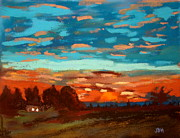 Brown House Pastels Posters - Blue Sunset Poster by Joseph Hawkins