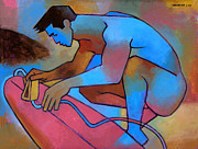 Nude Male Prints - Blue Surfer 2 Print by Douglas Simonson