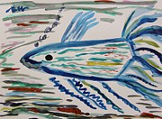 Swimmer Drawings - Blue Swimmer by Mary Carol Williams