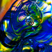 Glass Sculpture Prints - Blue Swirls Print by David Patterson