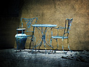 Lucinda Walter Prints - Blue Table and Chairs Print by Lucinda Walter