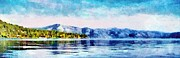 Shorelines Digital Art Posters - Blue Tahoe Poster by Jeff Kolker