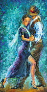 Dancer Paintings - Blue Tango 3 by Leonid Afremov