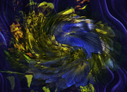 Flower_press Prints - Blue Tango - Abstract by Jean OKeeffe Print by Jean OKeeffe
