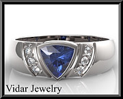 Featured Jewelry - Blue Tanzanite And Diamond 14k White Gold Mens Wedding Ring by Roi Avidar