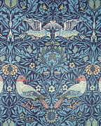 Birds Tapestries - Textiles Framed Prints - Blue Tapestry Framed Print by William Morris