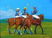 Original Framed Prints Paintings - Blue Team by Janina  Suuronen