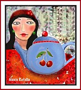 Alexis Rotella Framed Prints - Blue Teapot with Cherries Framed Print by Alexis Rotella