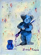 Cuddly Prints - Blue Teddy the Artist Print by Janis  Tafoya