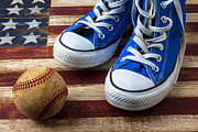 Wooden Prints - Blue tennis shoes and baseball Print by Garry Gay