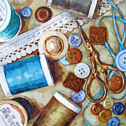 Thread Paintings - Blue Thread by Wendy Westlake