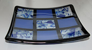 Fused Glass Glass Art - Blue Tic Tac dish by Ron Harpham