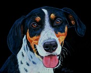 Tongue Painting Originals - Blue Tick Hound by Shirl Theis