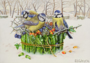 Snow Scene Paintings - Blue Tits in Leaf Nest by EB Watts