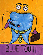 Cubist Digital Art Posters - Blue Tooth Poster by Anthony Falbo