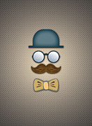 Moustache Digital Art Prints - Blue Top Hat Moustache Glasses and Bow Tie Print by Ym Chin