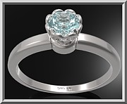 Custom Ring Jewelry - Blue Topaz Sterling Silver Engagement Ring - Delicate Flower Ring by Roi Avidar