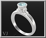 Custom Ring Jewelry - Blue Topaz Sterling Silver Engagement Ring by Roi Avidar