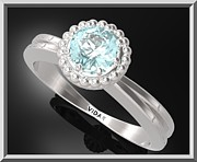 Promise Ring Jewelry - Blue Topaz Sterling Silver Engagement Ring With Little Silver Balls by Roi Avidar