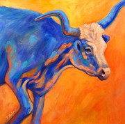 Longhorn Paintings - Blue Topaz by Theresa Paden