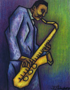Jazz Pastels Posters - Blue Train Poster by Kamil Swiatek