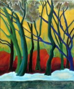 Fauvist Style Paintings - Blue Tree 1 by Elizabeth Fontaine-Barr