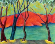 Fauvist Style Prints - Blue Tree 2 Print by Elizabeth Fontaine-Barr