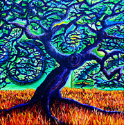 Warm Colors Paintings - Blue Tree by Aletha Keogh