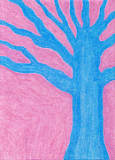 Fantasy Tree Art Drawings Prints - Blue Tree Print by Eric Forster