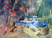Ferns Paintings - Blue Truck by Kris Parins