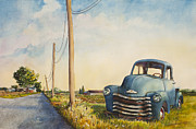 Old Barns Painting Prints - Blue Truck North Fork Print by Susan Herbst