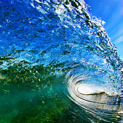 Wave Metal Prints - Blue Tube Metal Print by Paul Topp
