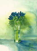 Frank Bright - Blue Tulips in Glass Vase