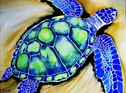 Hawaii Sea Turtle Paintings - Blue Turtle by Frances Ku