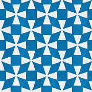 Triangles Posters - Blue Twirl Poster by Linda Woods