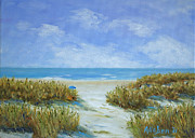 Sand Dunes Painting Framed Prints - Blue Umbrella Framed Print by Stanton Allaben