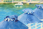 Greeting Cards Framed Prints - Blue Umbrellas Framed Print by Abbie Groves