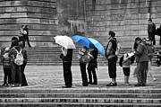 Colour Pop Posters - Blue Umbrellas Poster by Louise Heusinkveld