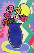 Multicolored Paintings - Blue Vase by Bodel Rikys