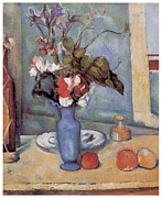 Flowers In White Vase Posters - Blue vase Poster by Paul Cezanne