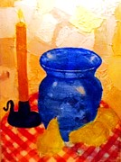 Candlelight Mixed Media - Blue Vase with Pears by Desiree Paquette