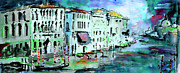 Grande Mixed Media - Blue Venice Grand Canal Italy Painting by Ginette Callaway