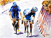 Tour De France Paintings - Blue Versus Blue by Shirley  Peters