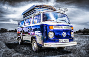 Vw Camper Van Prints - Blue VW Campervan Print by Ian Hufton