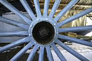 Old Mills Photos - Blue Wagon Wheel by Glenn Gordon