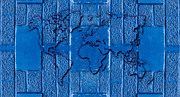 World Map Digital Art Posters - Blue Wall World Map Poster by Hakon Soreide