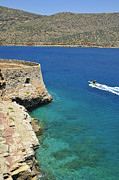 Turquois Prints - Blue water and boat - Spinalonga Island Crete Greece Print by Matthias Hauser