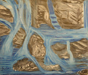 Rocks Paintings - Blue Water Dancing  by Suzanne Surber