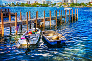 Florida Bridges Prints - Blue Waters Print by Debra and Dave Vanderlaan